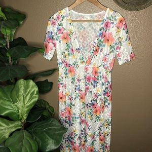 Floral Sheer Maxi Swim Coverup